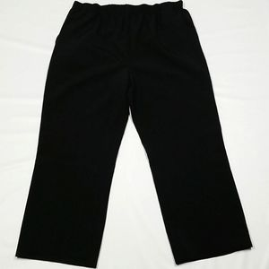 Wide Leg Pull On Solid Pants Black - Size 16